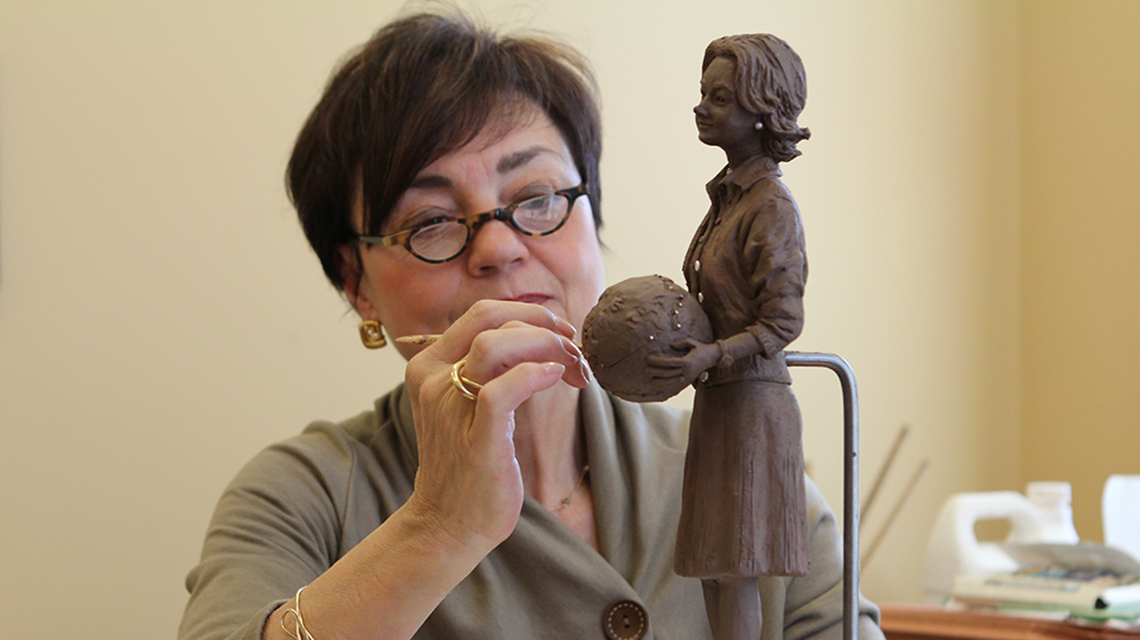 Every Spirit of Columbus award winner receives a small recreation of the life-size bronze statue of Jerrie holding a globe, created by Columbus artist Renate Burgyan Fackler and currently displayed at Port Columbus International Airport.